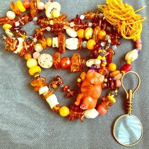 PAIR GENUINE AMBER BEADED NECKLACE and EARRINGS